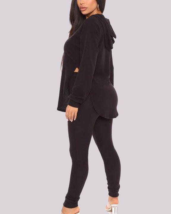 Solid Split Curve Hem Hoodie & Skinny Pants Set gallery 4
