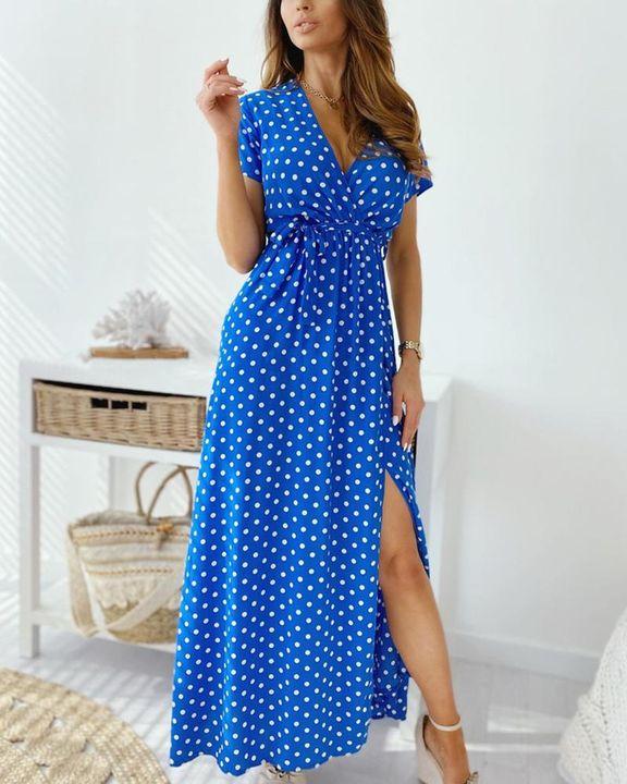 Polka Dot Print Self-Tie Split Overlap Maxi Dress gallery 8