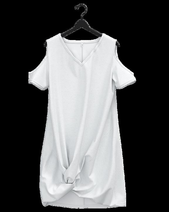 Solid Twist Cold Shoulder Short Dress gallery 11