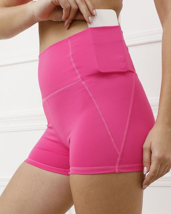 Pocket Decor Wide Waistband Butt Lifting Sports Shorts gallery 5