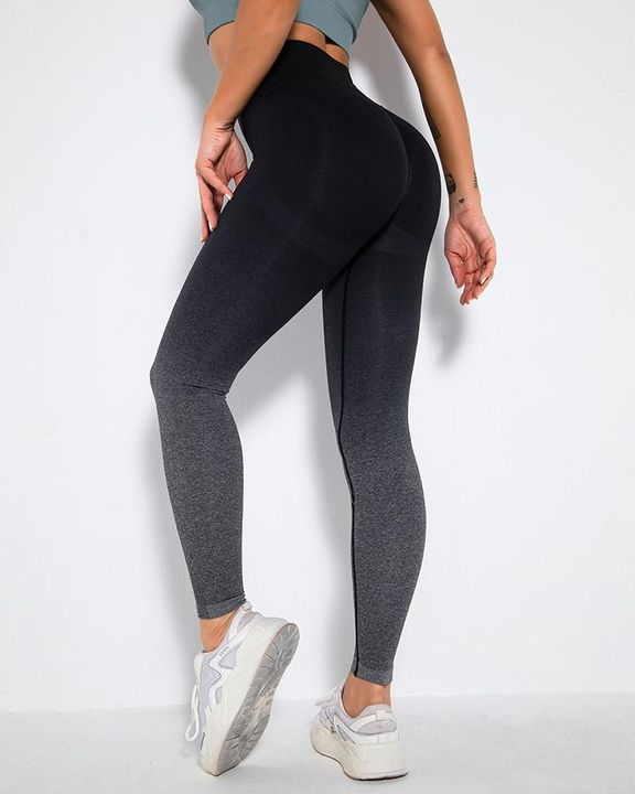 Ombre Space Dye Seamless Butt Lifting Sports Leggings gallery 4
