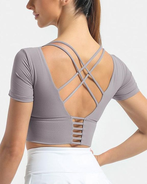Crisscross Lace Up Back Sports Crop Top gallery 2