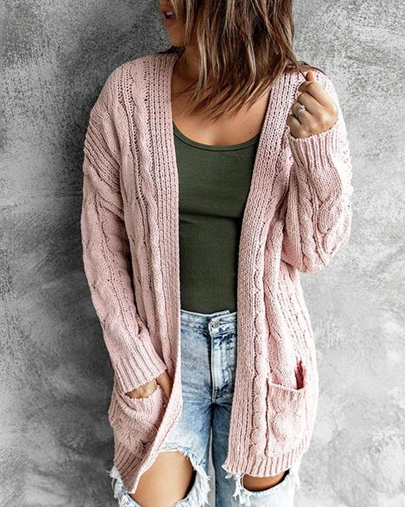Solid Dual Pocket Cable Knit Cardigan gallery 1