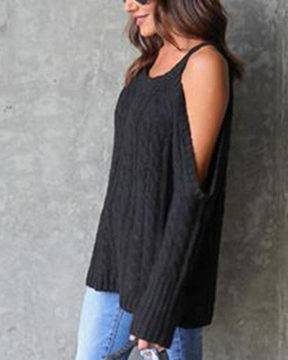 Cable Knit Cold Shoulder Sweater gallery 5