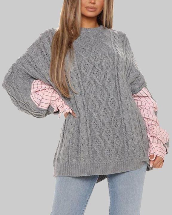Colorblock & Striped Cable Knit Drop Shoulder Sweater gallery 1