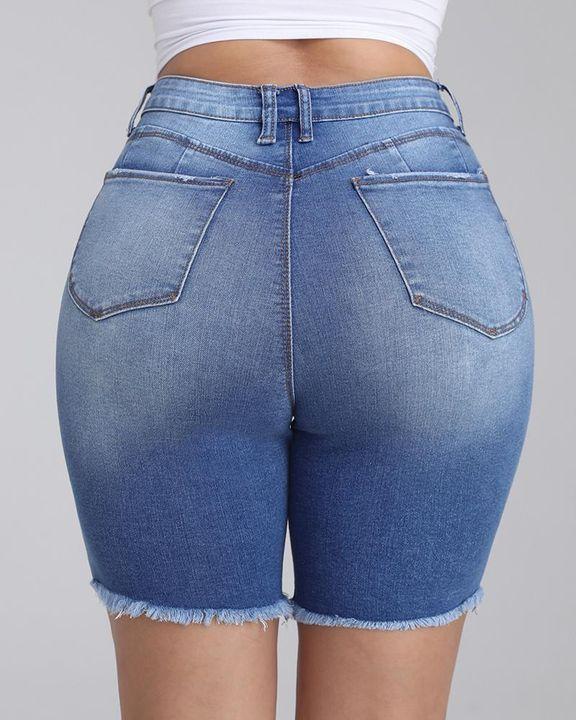 Frayed Hem Ripped Slant Pocket Denim Shorts gallery 2