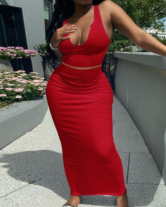 Solid Notched Form Fitting Tank Top & Skirt Set gallery 2