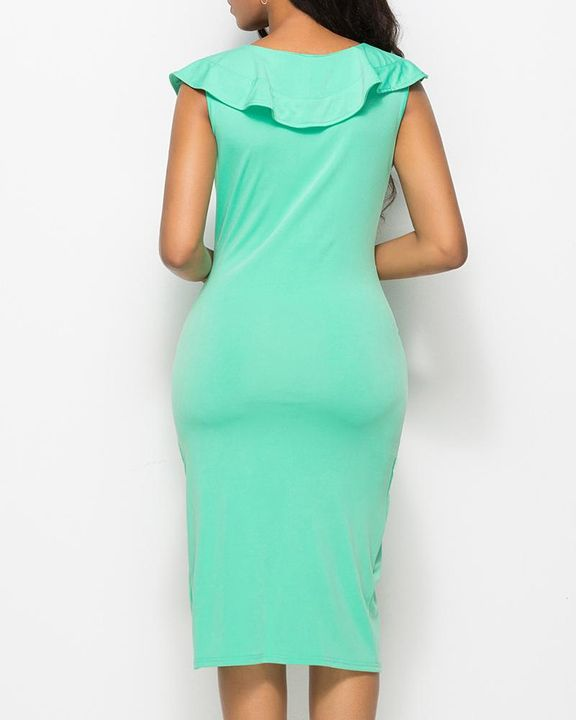Solid Ruffle Trim Ruched Wrap Asymmetrical Hem Knee Length Dress gallery 10