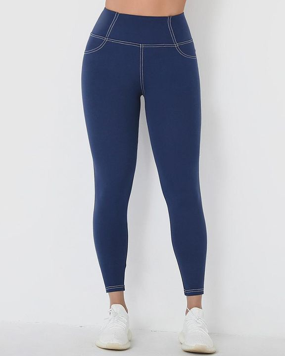 Stitch Detail Wide Waistband Sports Leggings gallery 2