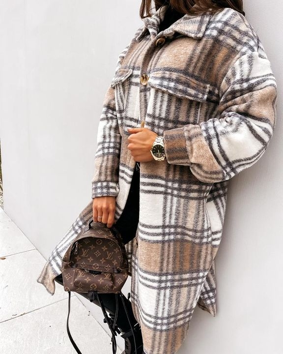 Plaid Print Patch Pocket Button Up Teddy Coat gallery 5