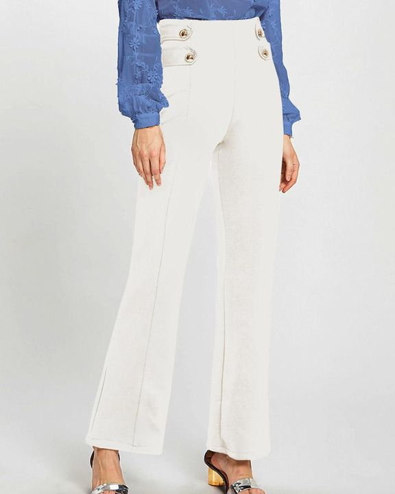 Solid Studded Button Decor Wide Leg Pants gallery 4