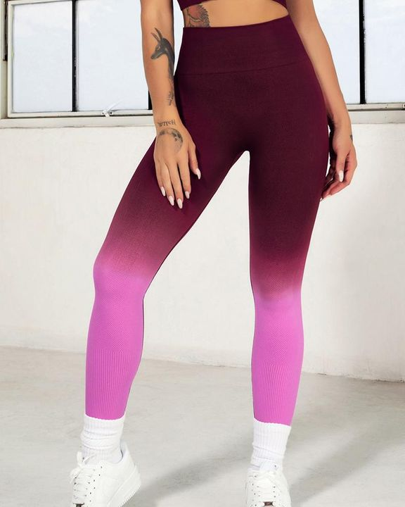 Ombre Wide Waistband Butt Lifting Sports Leggings gallery 14