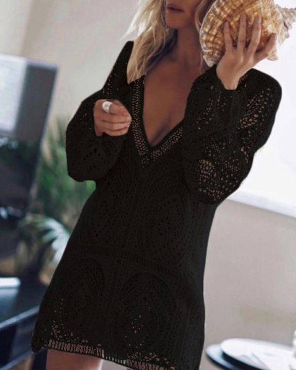 Lace Hollow Out Cut Out Back Mini Dress gallery 4