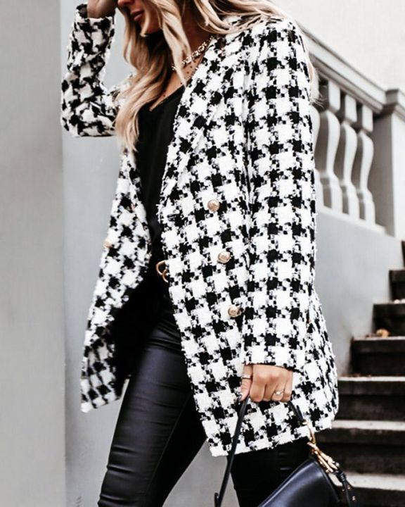 Plaid Double Breasted Lapel Neck Coat gallery 7