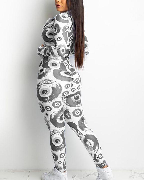 Allover Print Zip Up Drawstring Waist Jacket & Pants Set gallery 4