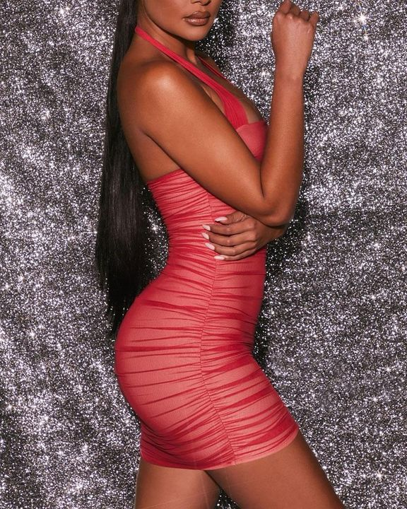 Mesh Ruched Backless Halter Bodycon Dress gallery 7