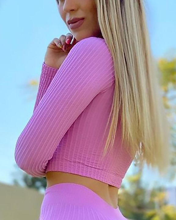 Solid Rib-Knit Zip Decor Form Fitting Sports Crop Top gallery 11