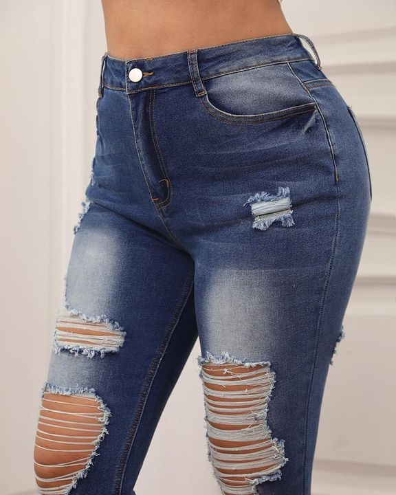 Knee Distressed Butt Lifting Skinny Jeans gallery 6