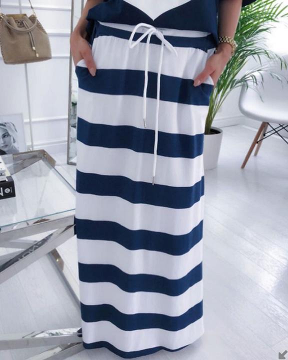 Anchor Print T-Shirt & Striped Skirt Set gallery 4