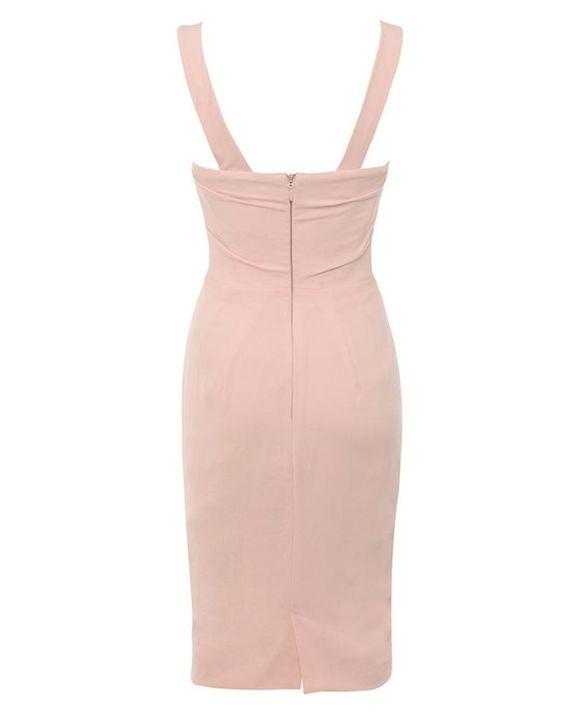 Solid Draped Split Hem Bodycon Knee Length Dress gallery 5