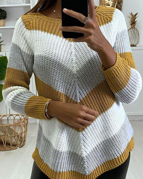 Chevron Print Ribbed Round Neck Sweater gallery 4