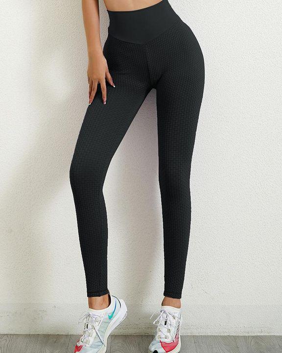 Solid Textured Wide Waistband Scrunch Butt Sports Leggings gallery 2