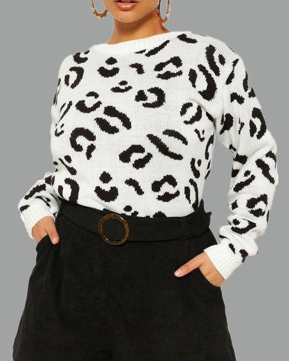 Leopard Print Rib-Knit Round Neck Sweater gallery 6