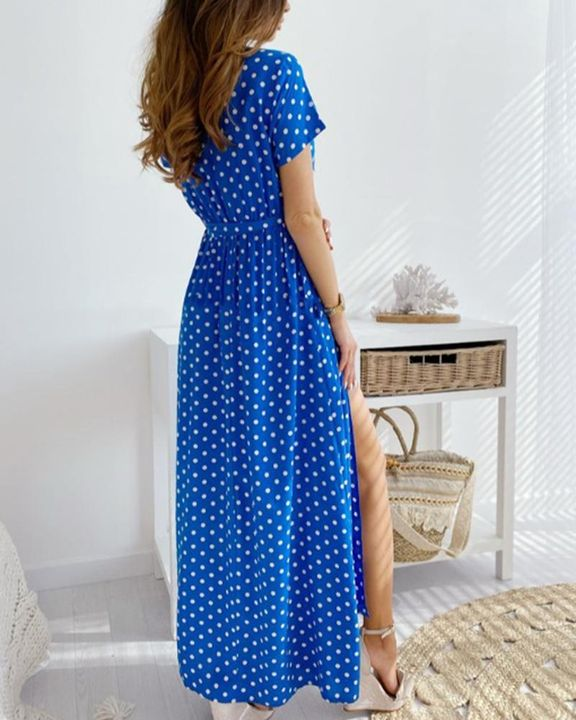 Polka Dot Print Self-Tie Split Overlap Maxi Dress gallery 7