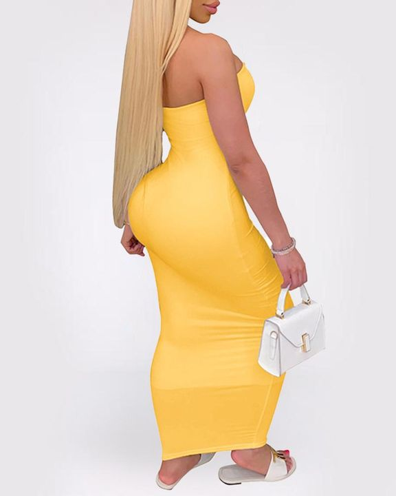 Solid Strapless Tube Maxi Dress gallery 11