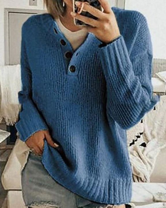 Solid Rib-Knit Button Front Drop Shoulder Sweater gallery 2