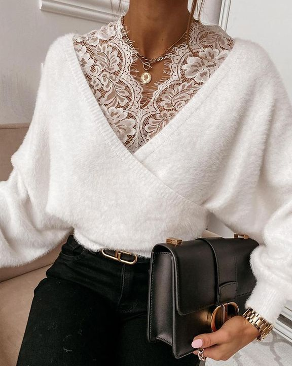 Lace Panel Drop Shoulder Sweater gallery 1