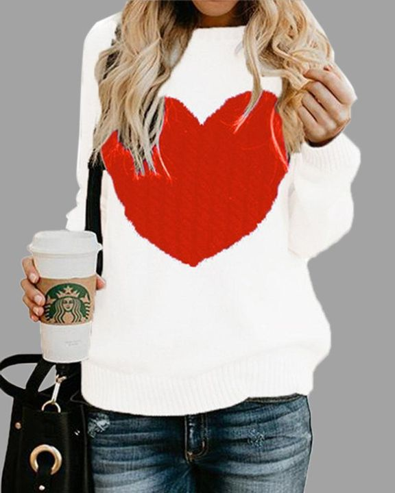 Colorblock Heart Pattern Chunky Knit Round Neck Sweater gallery 4