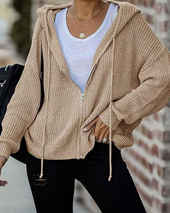 Chunky Knit Zip Front Drawstring Hooded Cardigan gallery 3