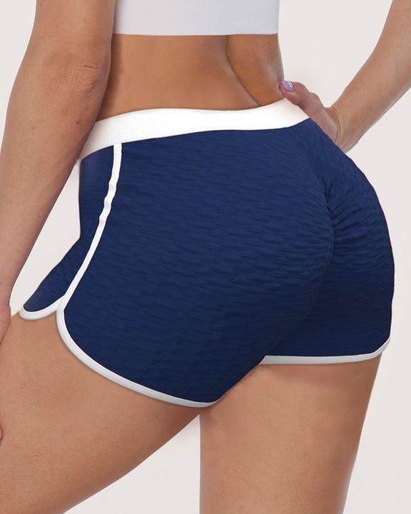 Contrast Binding Textured Ruched Sports Shorts gallery 6