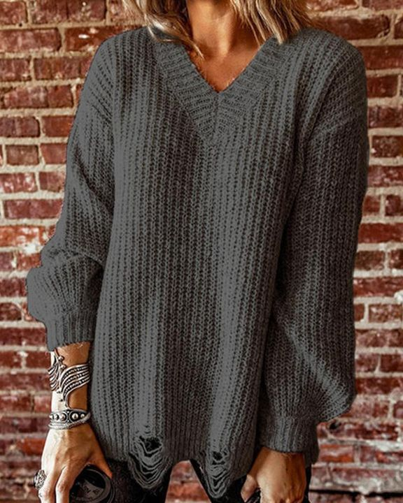 Chunky Knit Drop Bishop Sleeve Sweater gallery 3