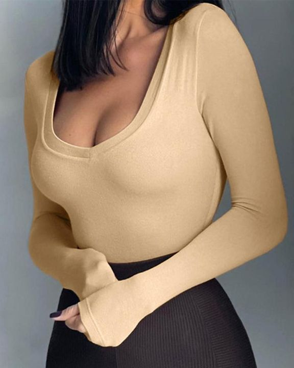 Solid Long Sleeve Bodysuit gallery 1