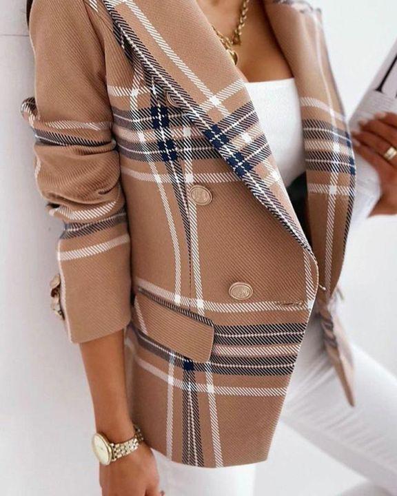 Striped Lapel Neck Button Trim Blazer gallery 3