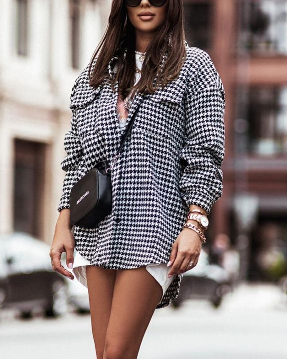 Houndstooth Print Flap Pocket Button Up Coat gallery 2