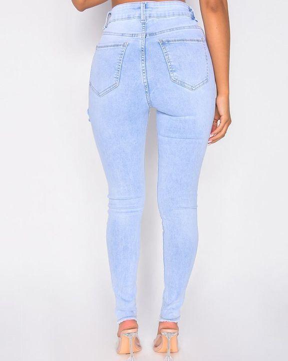 Cutout Raw Hem High Waist Skinny Jeans gallery 6