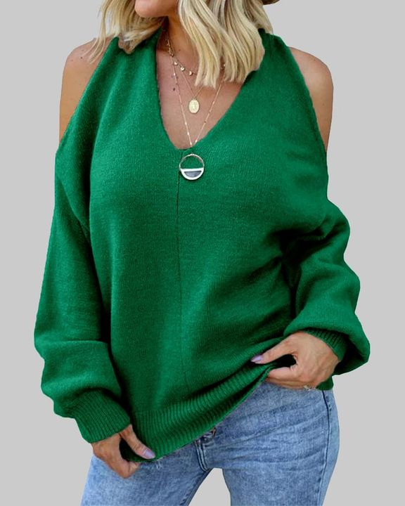 Solid Cold Shoulder Rib Knit Sweater gallery 1