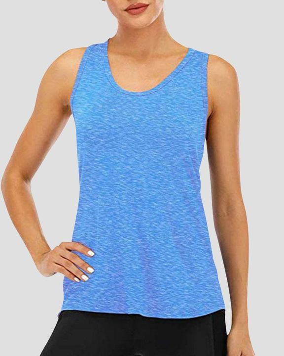 Cat Print Racerback Breathable High Low Sports Tank Top  gallery 9