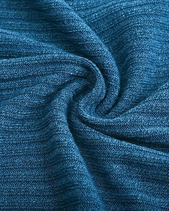 Solid Button Detail Ribbed High Neck Sweater gallery 15