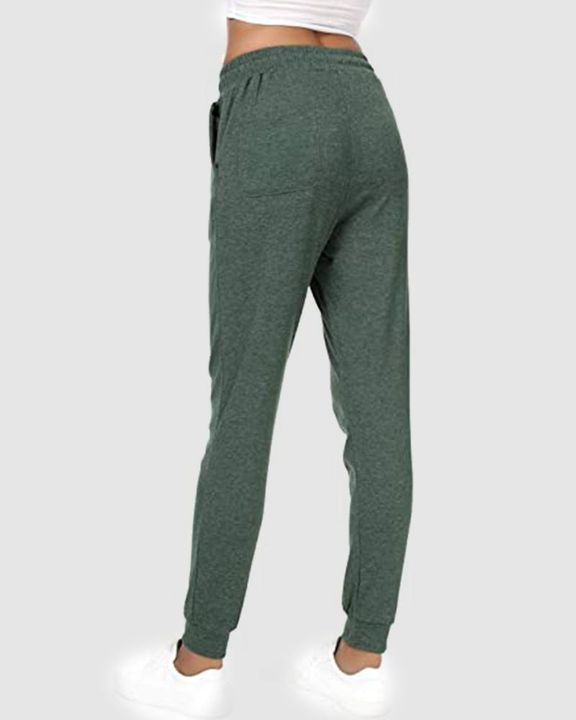 Solid Drawstring Front Pocket Detail Sports Pants gallery 18