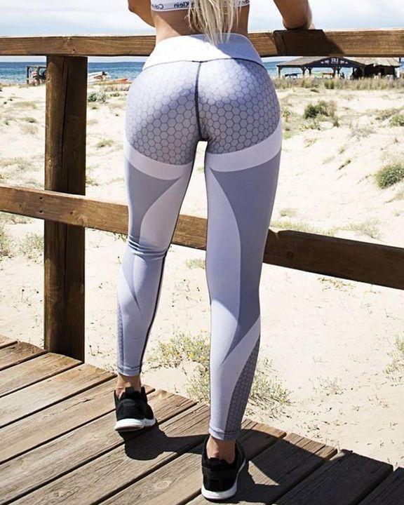 Colorblock Butt Lifting High Waist Sports Leggings gallery 8