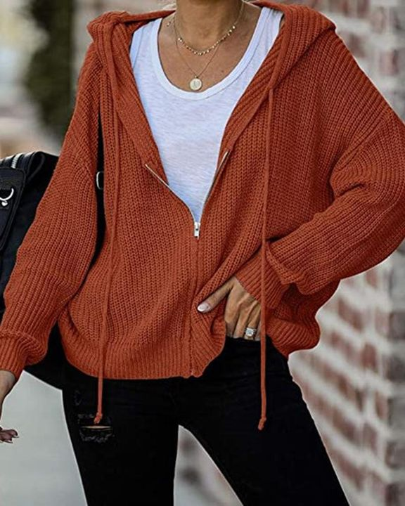 Chunky Knit Zip Front Drawstring Hooded Cardigan gallery 1