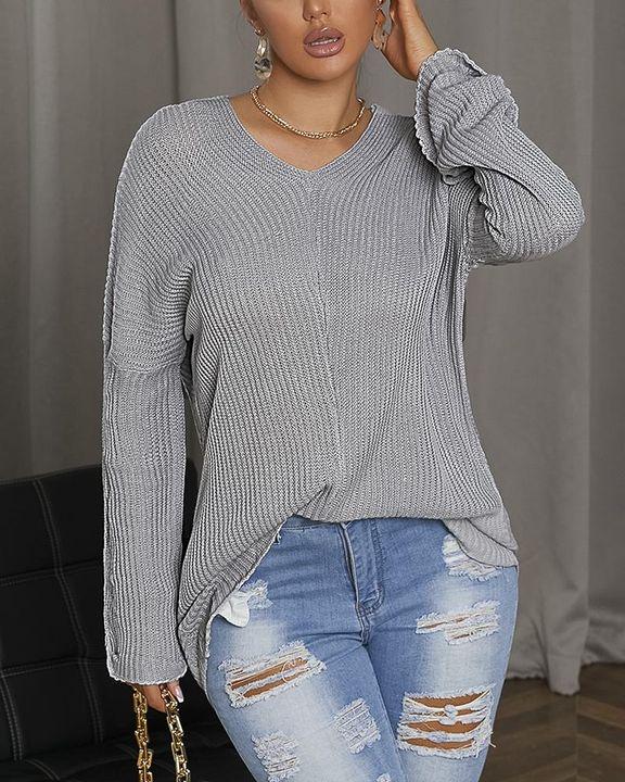 Chunky Knit V Neck Drop Shoulder Sweater gallery 3