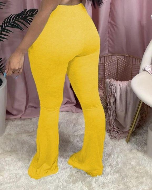 Drawstring Front Slant Pocket Flare Pants gallery 7