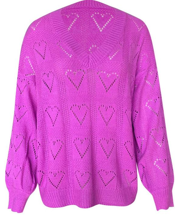 Heart Pattern Hollow Out Rib-Knit Sweater gallery 11