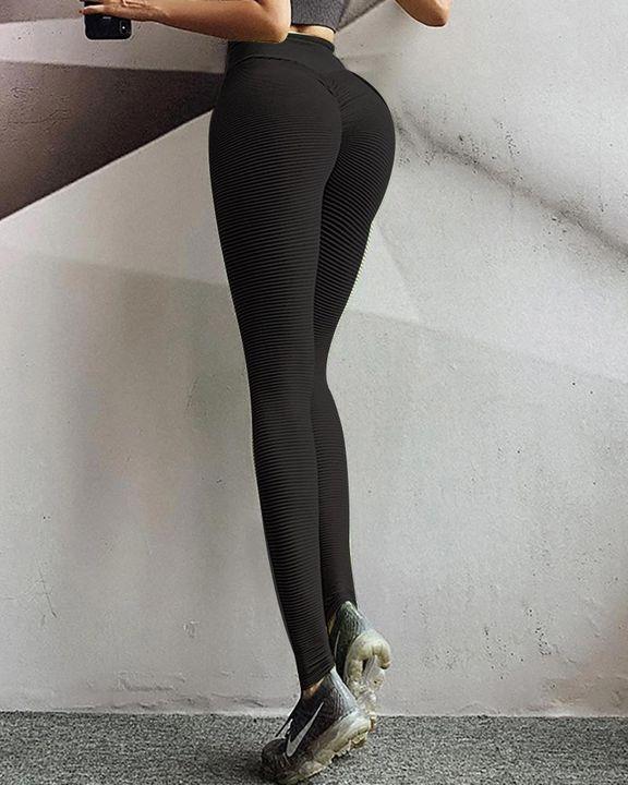 Pinstriped Ribbed Scrunch Butt High Waist Sports Leggings gallery 9