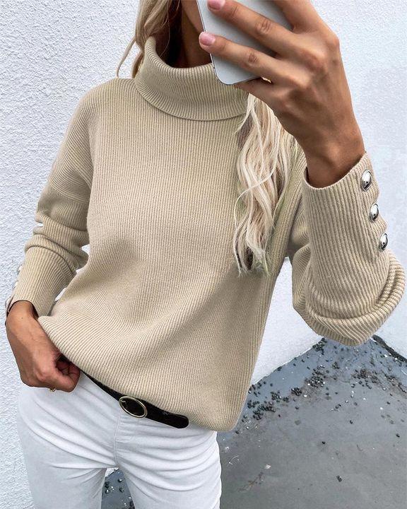 Rib Knit Turtleneck Button Trim Drop Shoulder Sweater gallery 1